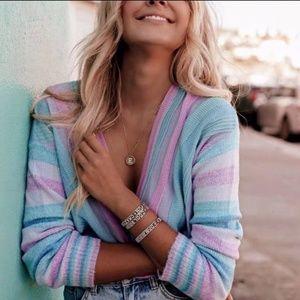 Tularosa | Pastel Striped Kinsley V-Neck Sweater